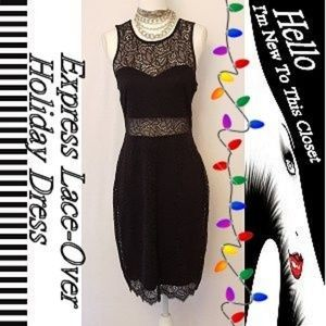 Express Black Lace-Over Holiday Dress-Medium
